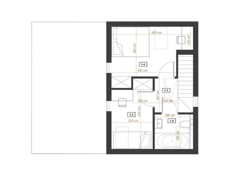 Modulo House v_2 poddasze rzut z wymiarami