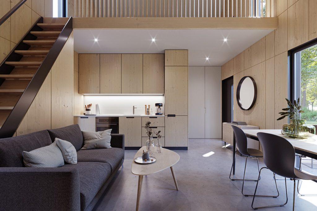 modulo mały tani dom wnętrze