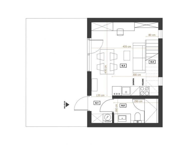Modulo House v_2 parter rzut z wymiarami