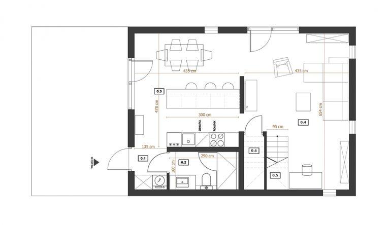 Modulo House v_3 parter rzut z wymiarami